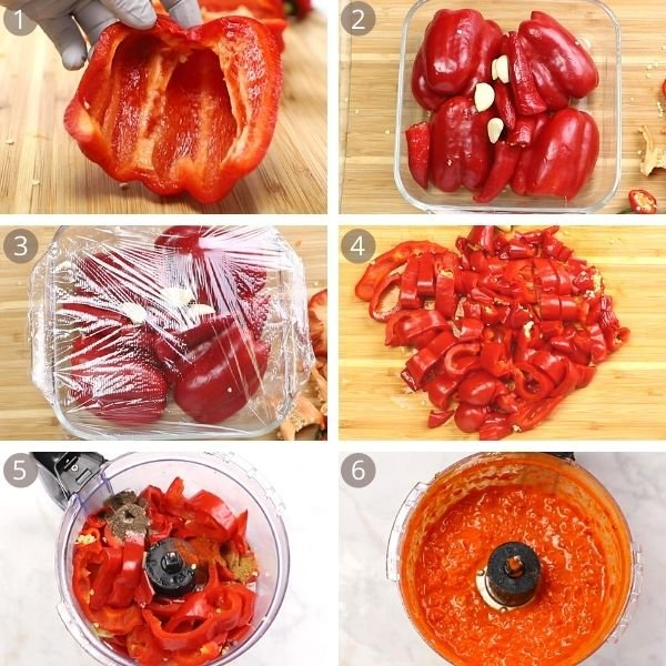 step by step photos of food preparation for Harissa