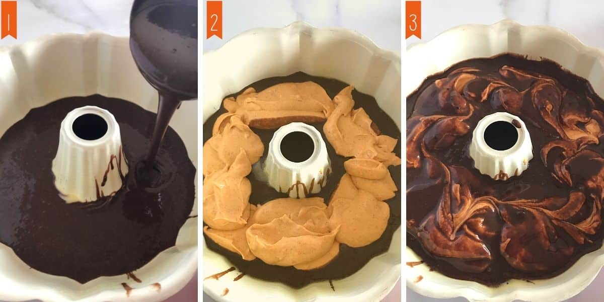 A collage of 3 photos showing how to assemble the cake for baking.