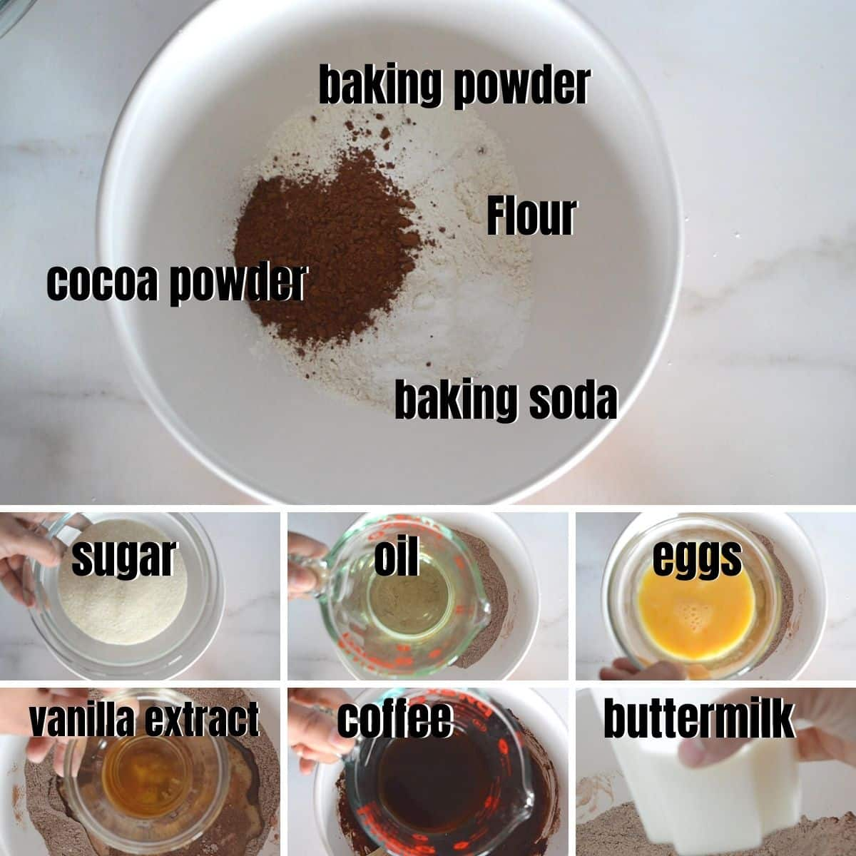 A collage of 7 photos for ingredients to make the chocolate cake.