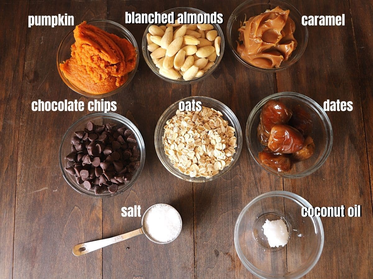 Ingredients for caramel cups placed on a wooden table.