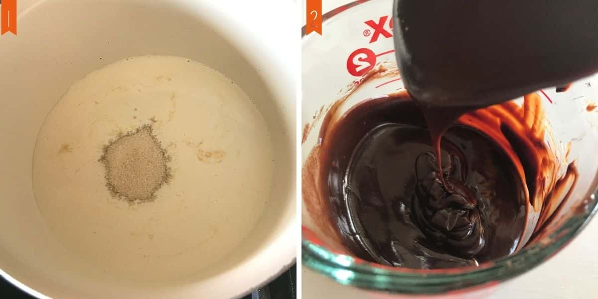 A collage of two photos for making the chocolate glaze.