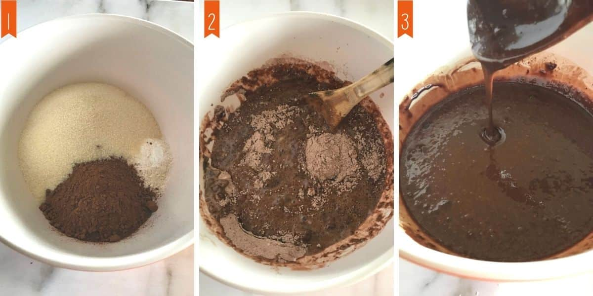 A collage of 3 photos showing how to make the chocolate cake batter.