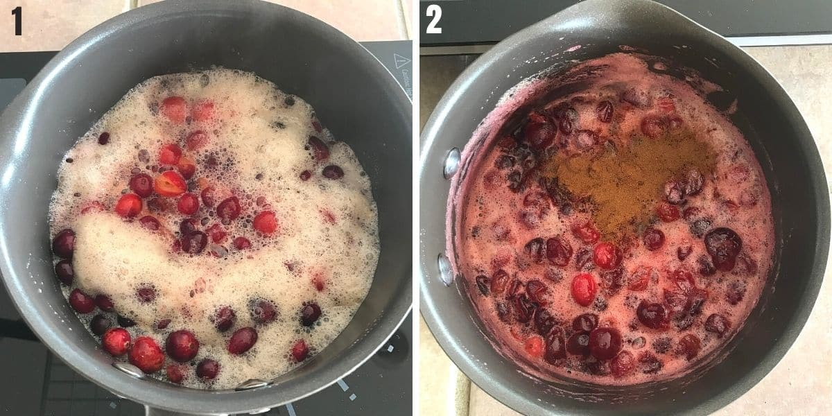 A collage of two pictures showing how to flavor cranberry sauce.