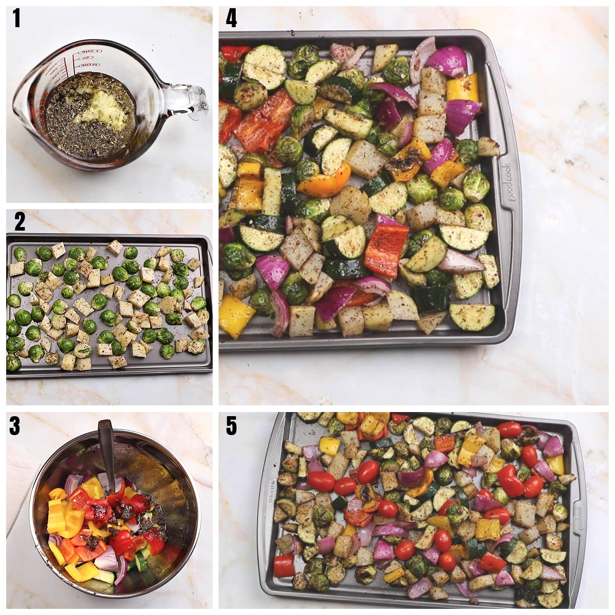 A collage of 5 photos showing how to oven roast vegetables.