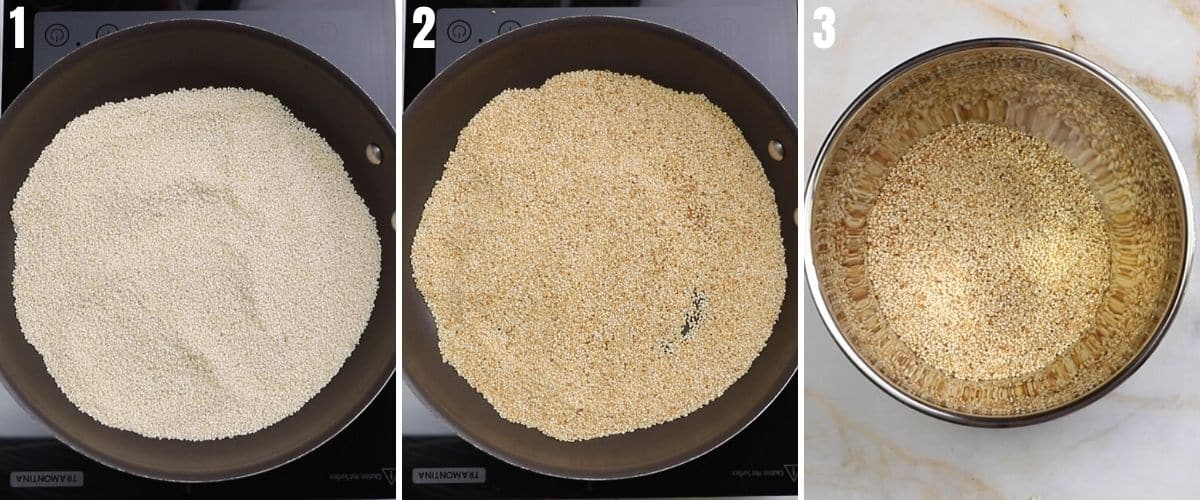 A collage of three images for toasting sesame seeds.