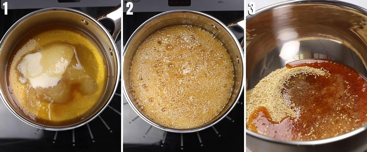 A collage of three images of making the honey syrup to make sesame bars.