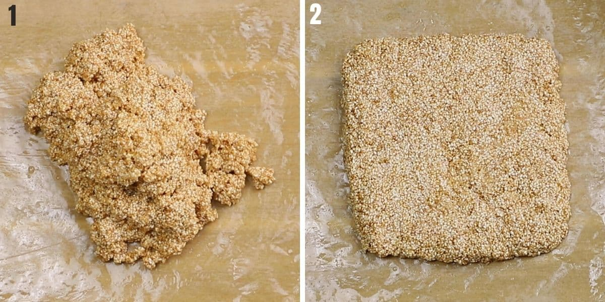 A collage of two images showing how to make sesame candy.