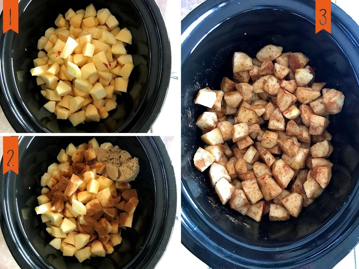 A collage of three photos showing how to make apple butter in the crockpot.