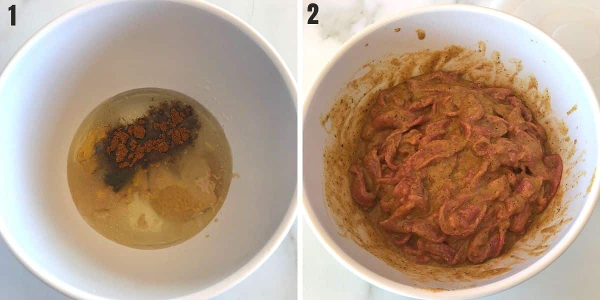 A collage of two images showing how to marinade beef for shawarma.
