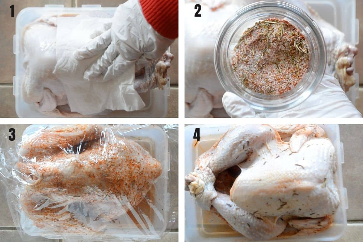 A collage of 4 photos showing how to dry brine a tureky.