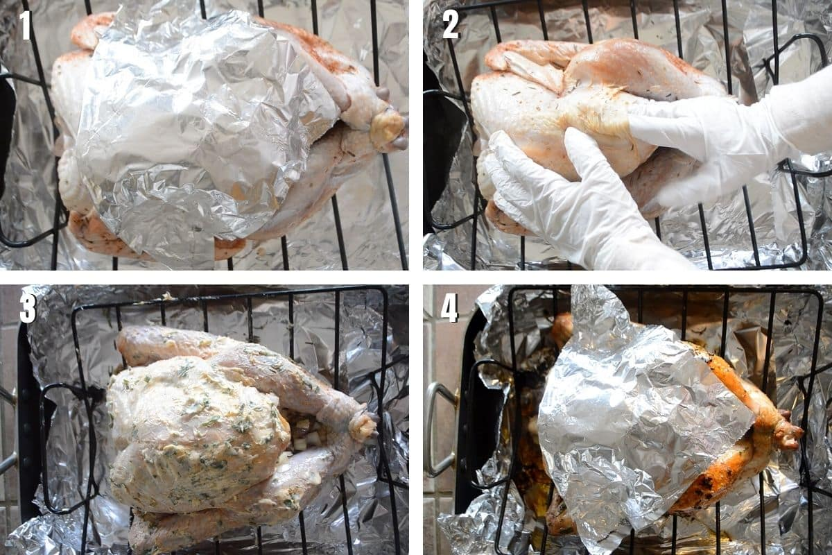 A collage of 4 photoes showing how to roast juicy turkey.