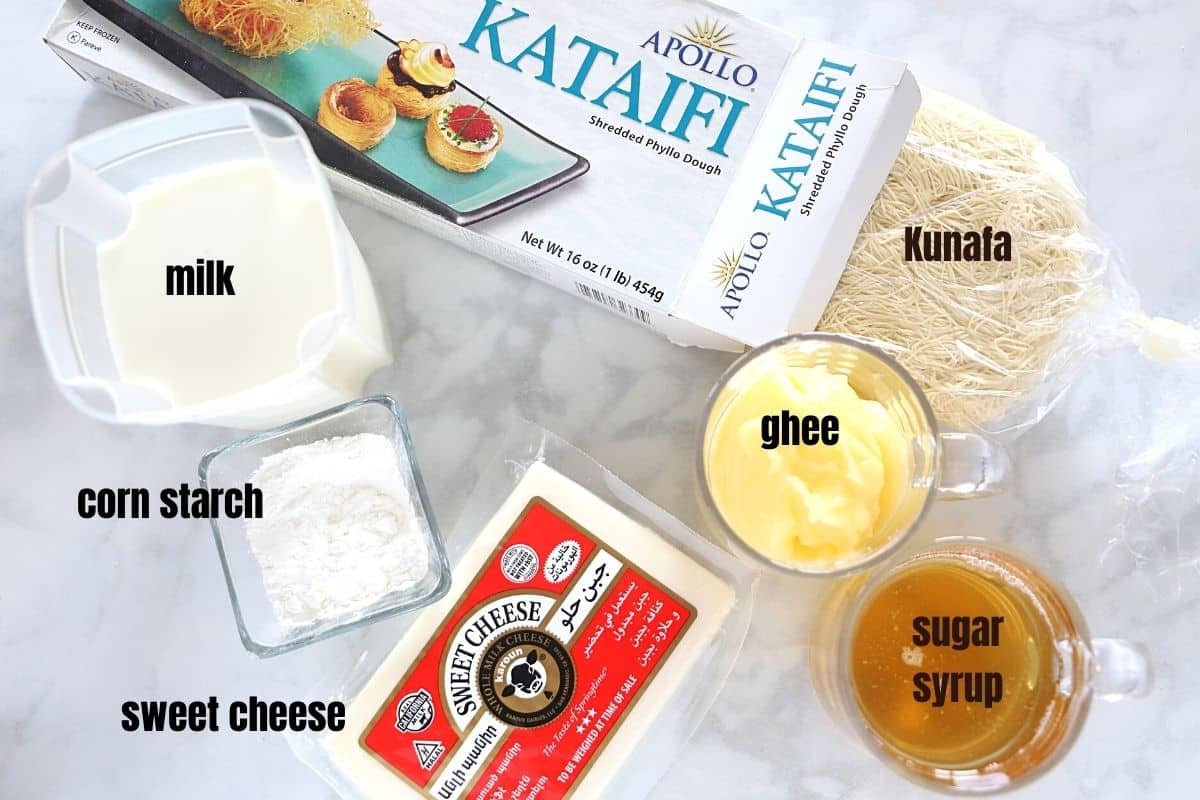 A photo showing ingredients for making Kunafa.
