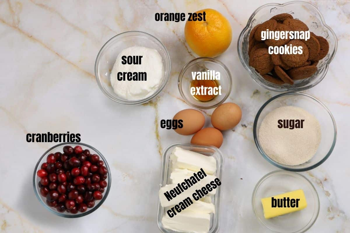 orange cranberry cheese cake ingredients on a marble table.