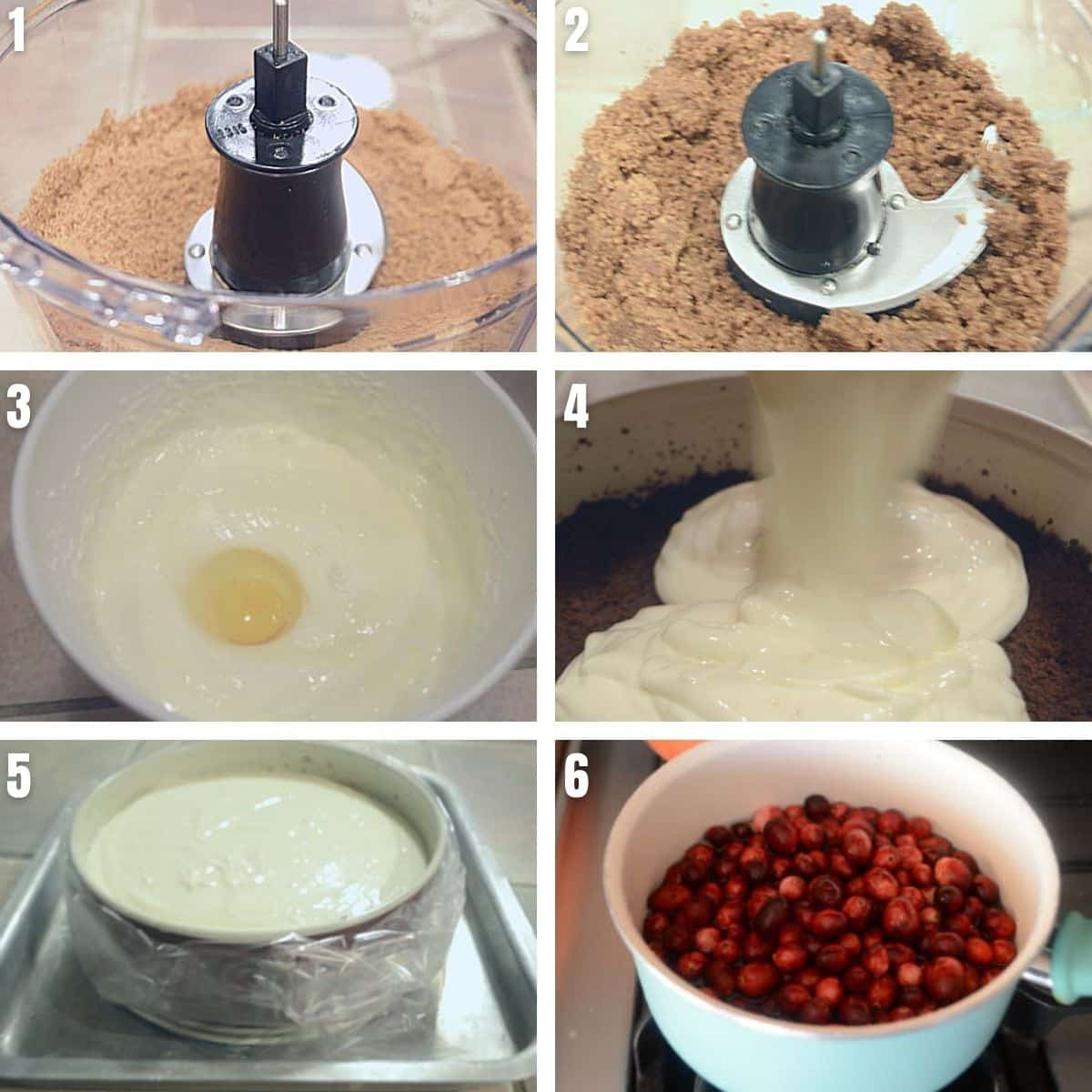 A collage of 6 photos showing how to make orange cranberry cheese cake.