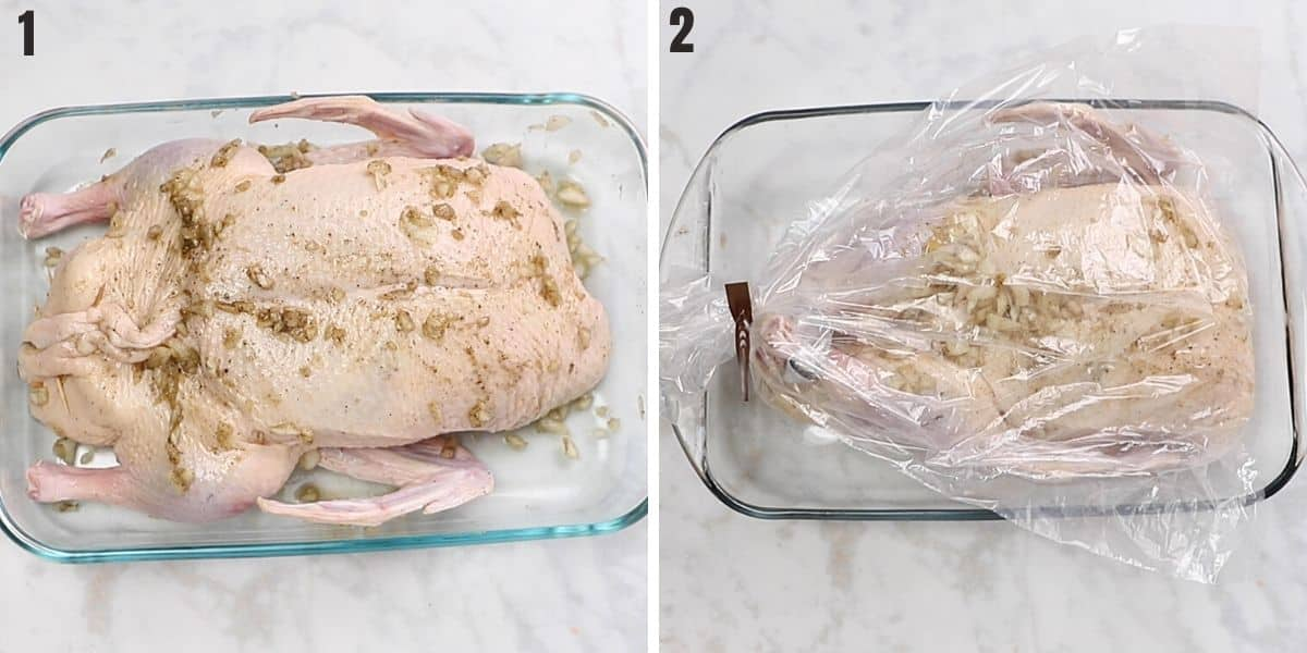 A collage of two photos showing how to roast a duck.