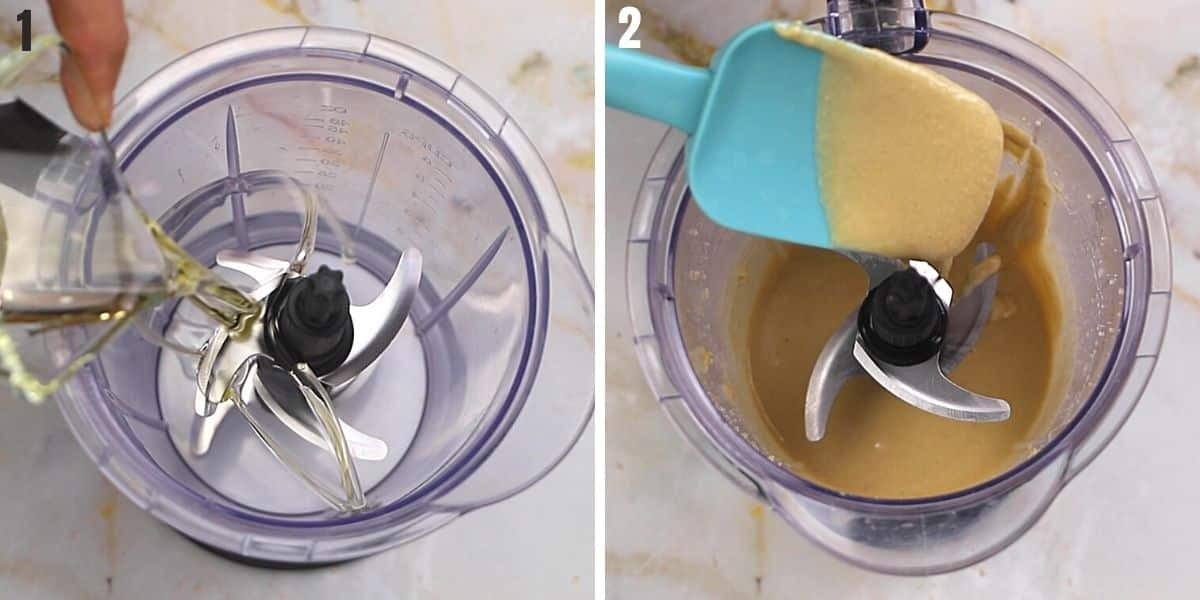 A collage of two images showing how to turn dry sesame paste into tahini.