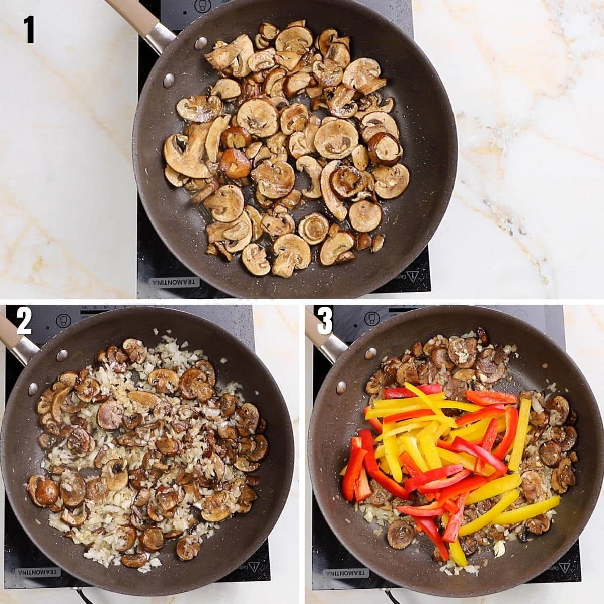 A collage of three images for browning the mushroom and vegetables in a pan.