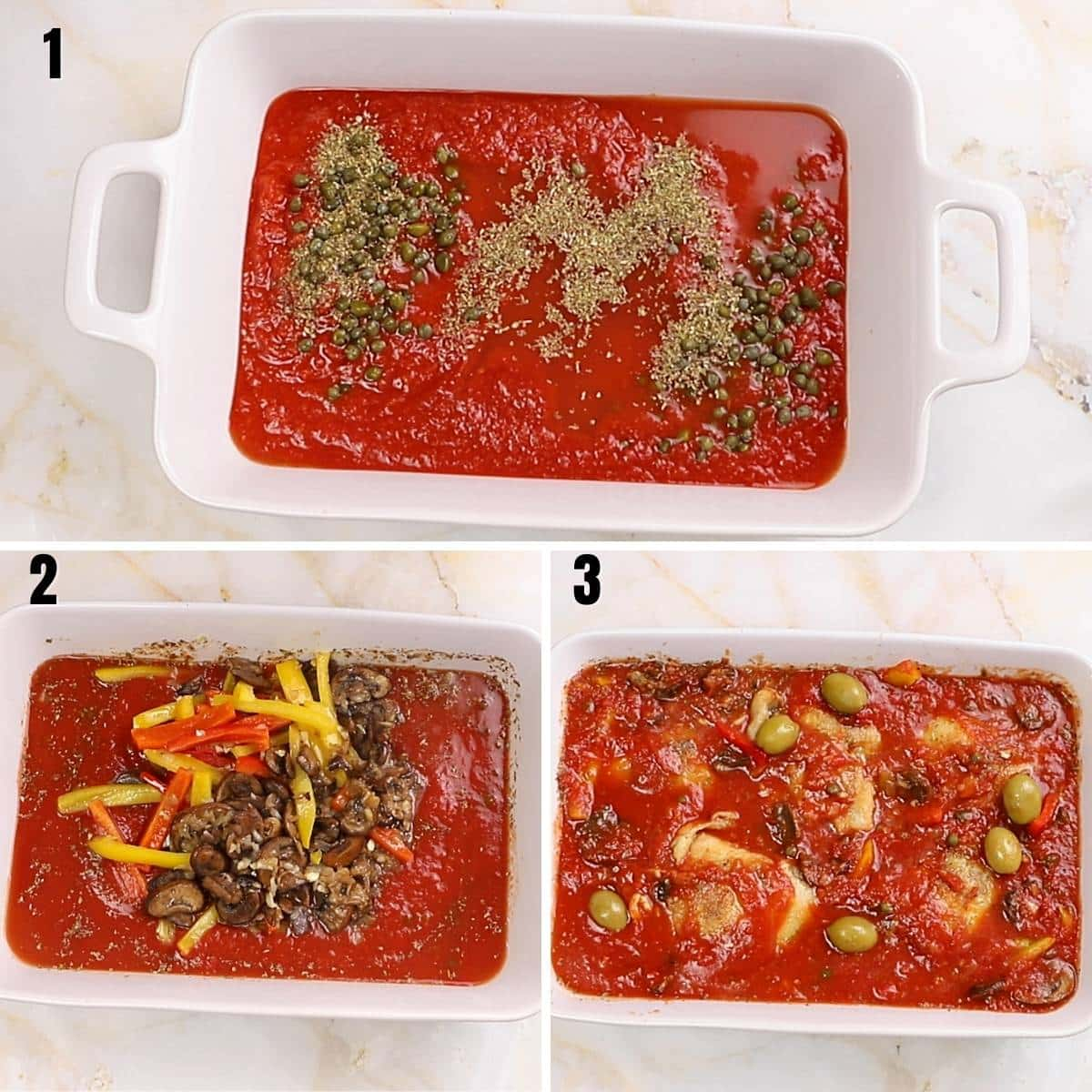 A collage of three images showing how to add sauce in a white deep oven dish.