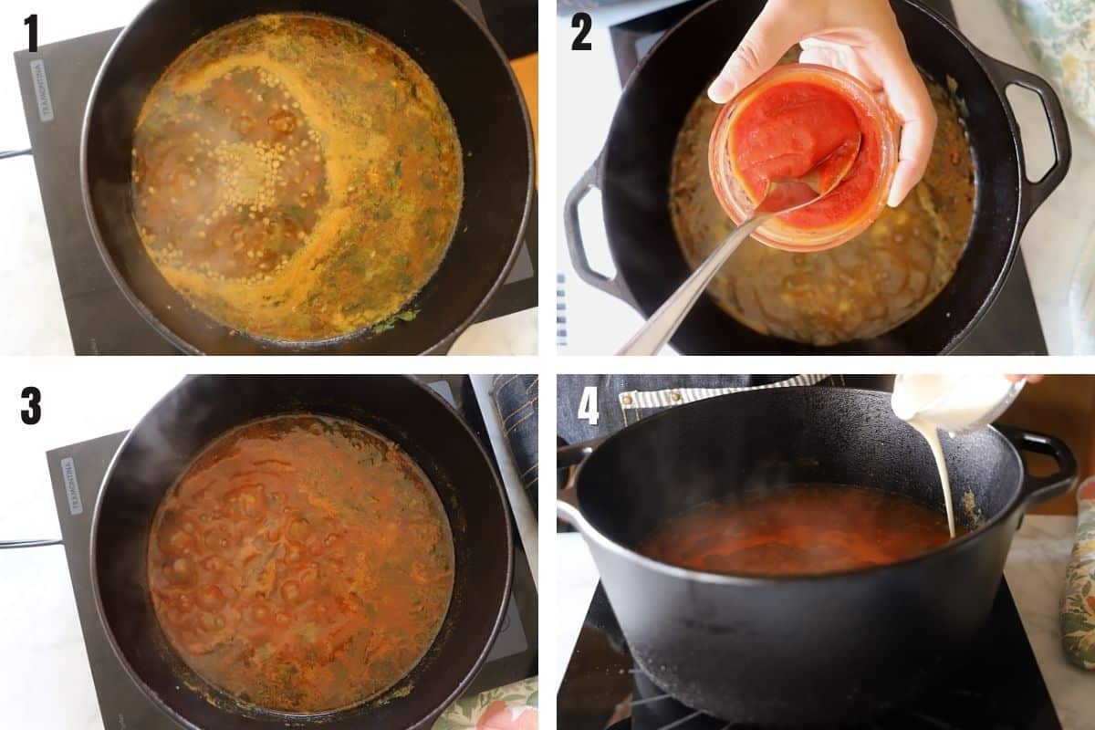 A collage of 4 images showing how to finish and thicken harira soup.