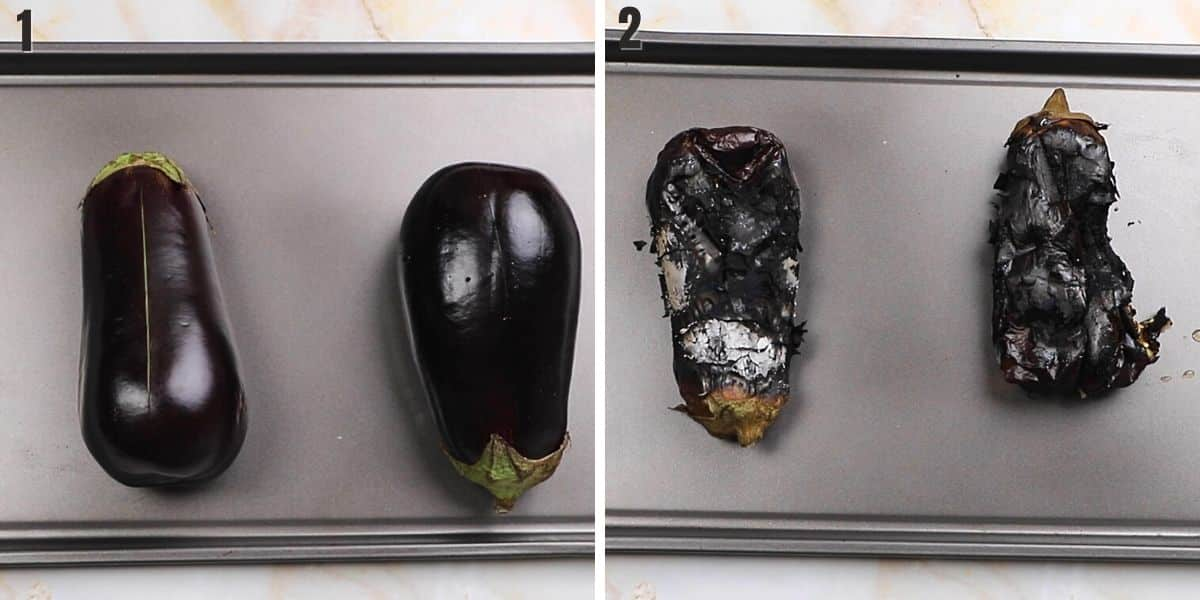 A collage of two photos showing how to roast eggplants.