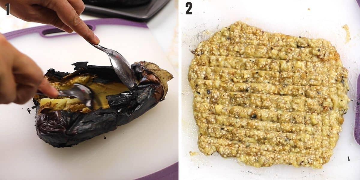 A collage of two photos showing how to scoop up eggplant flesh to make mutabal.