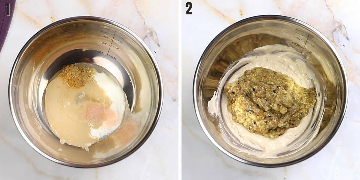 A collage of two images showing how to make mutabal recipe.