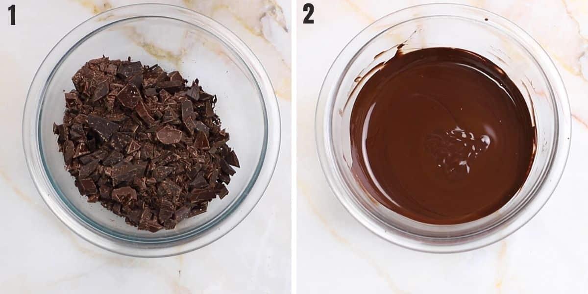Melting dark chocolate to make the peppermint bark.