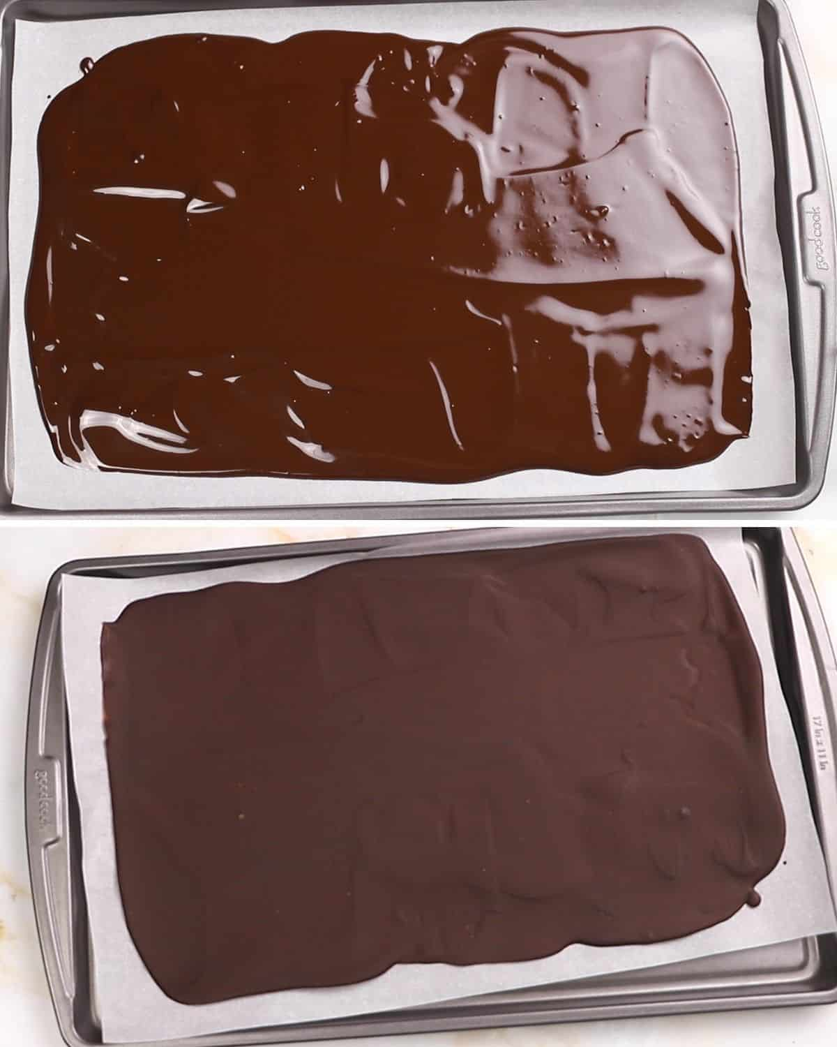 A collage of two images showing how to spread and chill dark chocolate.