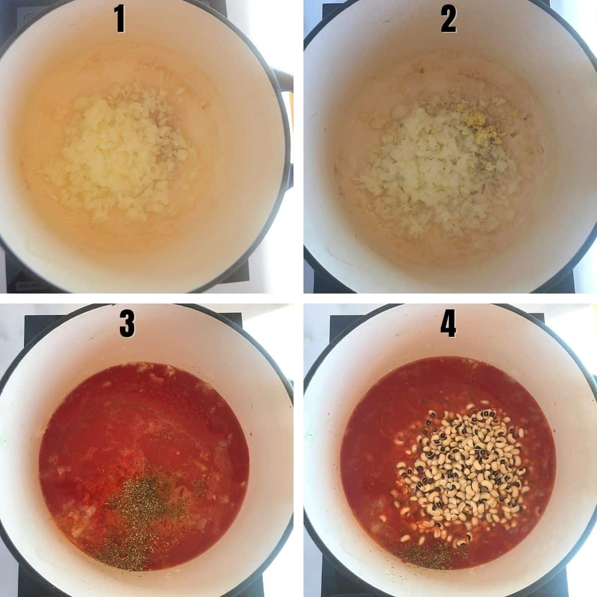 A collage of 4 images showing how to make vegetarian black eyed peas stew.