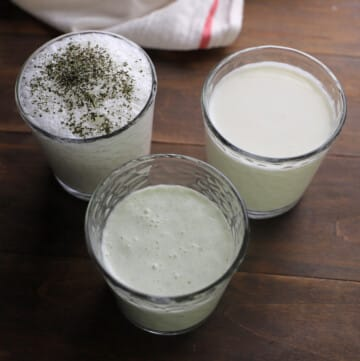 Three cups showing three different ways to serve Ayran.