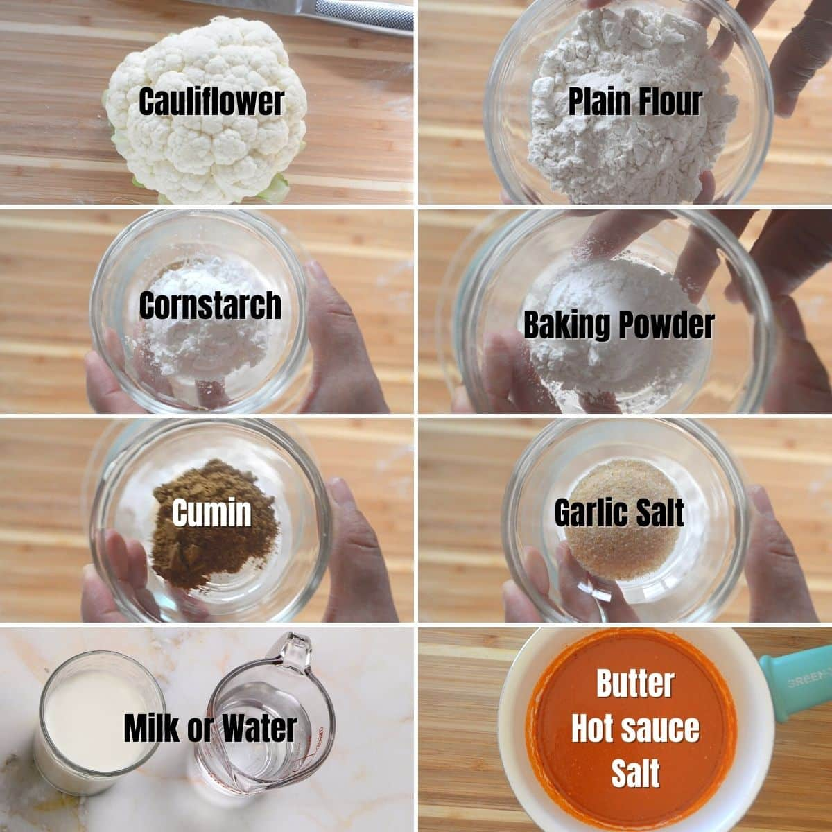 A collage of 8 images showing ingredients needed to make buffalo cauliflower bites.