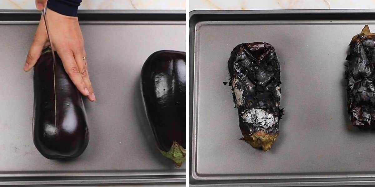 A collage of two images showing how to roast eggplants.