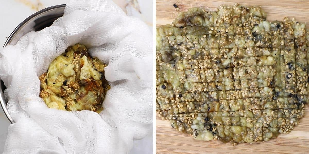 A collage of two images showing how to drain and cut eggplant flesh.
