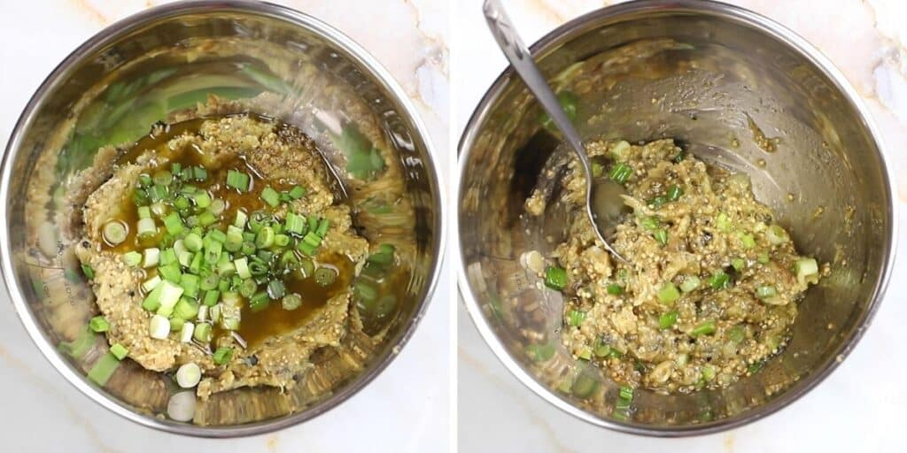 A collage of two images showing how combine eggplant dip ingredients together.