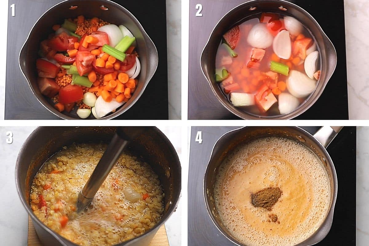A collage of 4 images showing how to make Middle Eastern red lentil soup with chopped onion, garlic, tomatoes in a deep pot with lentils.