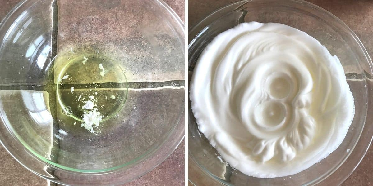 Beating egg whites in a glass bowl.