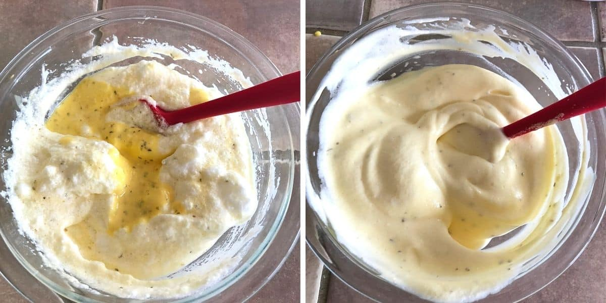Mixing egg white mixture with egg yolks.