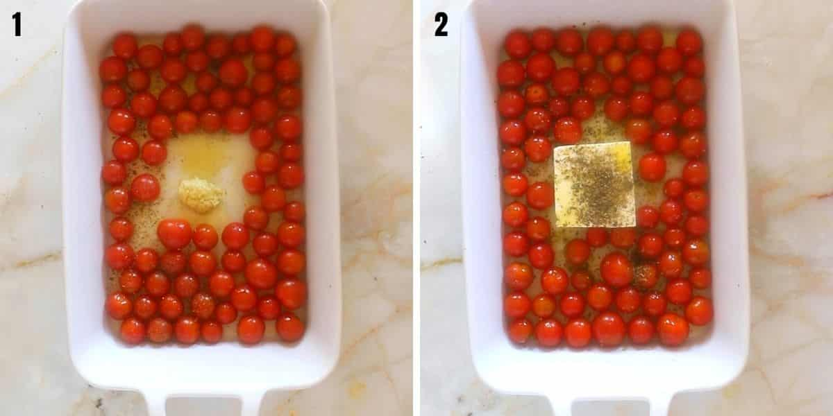 A collage of two images showing how to prepare and season feta for baking.