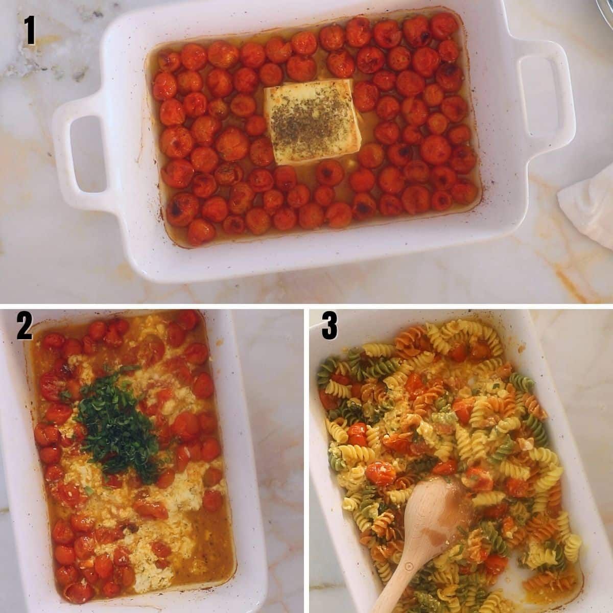A collage of three images showing how to finish off feta pasta.