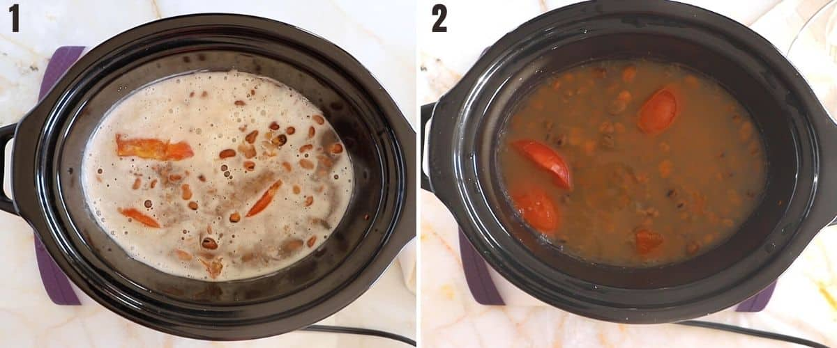 A collage of two images showing how to add baking powder for ful medames.
