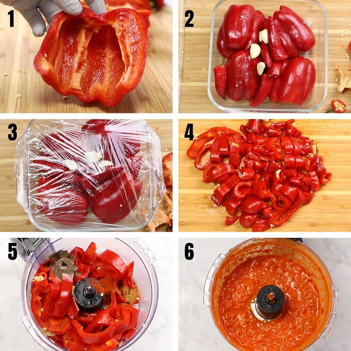 A collage of 6 images showing how to make harissa.