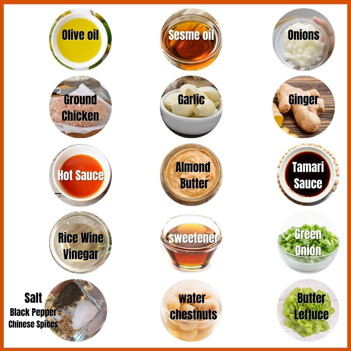 Low carb chicken lettuce wrap ingredients.