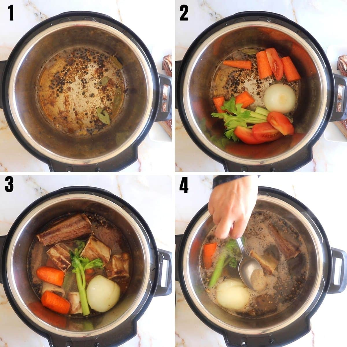 A collage of 4 images showing how to bloom spices and vegetables in the instant pot preior to making the bone broth.