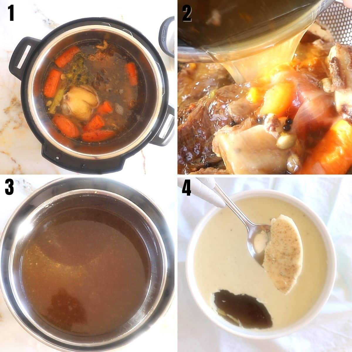 A collage of 4 images showing hoe to strain the bone broth and how to quickly cool it down.