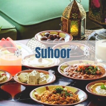 A Suhoor table with different plates suitable for the Suhoor meal during Ramadan.
