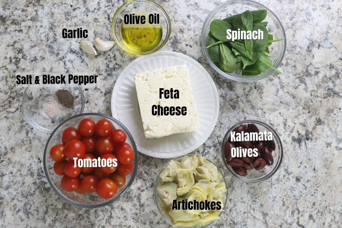 Baked feta dip ingredients on a counter.