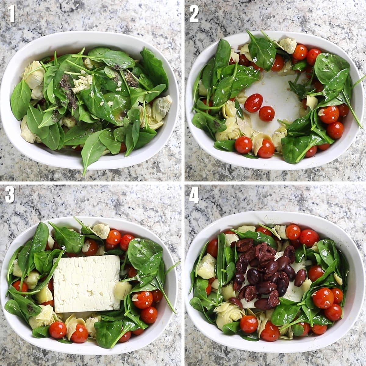 A collage of four images showing how to make Mediterranean baked feta dip.