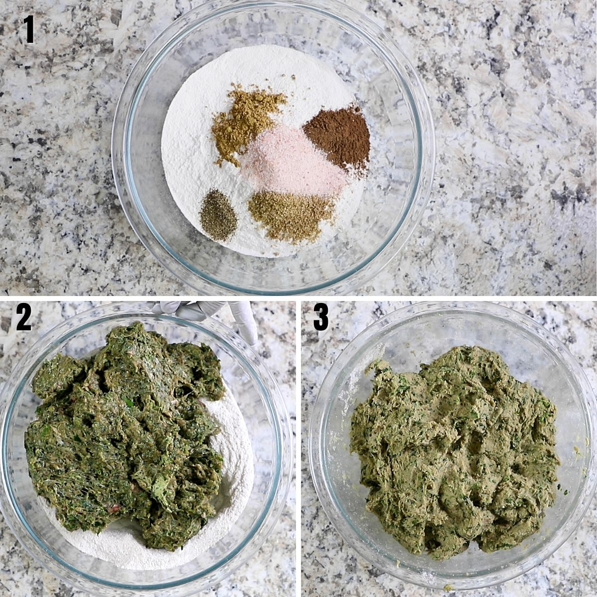 A collage of three images showing spices and rice flour mixed with meat to make gluten free meatballs.