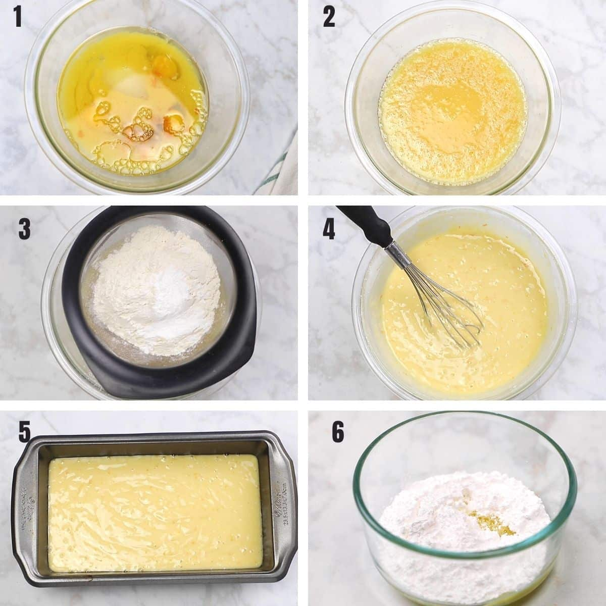 A collage of 6 images showing how to make amazing orange juice cake.