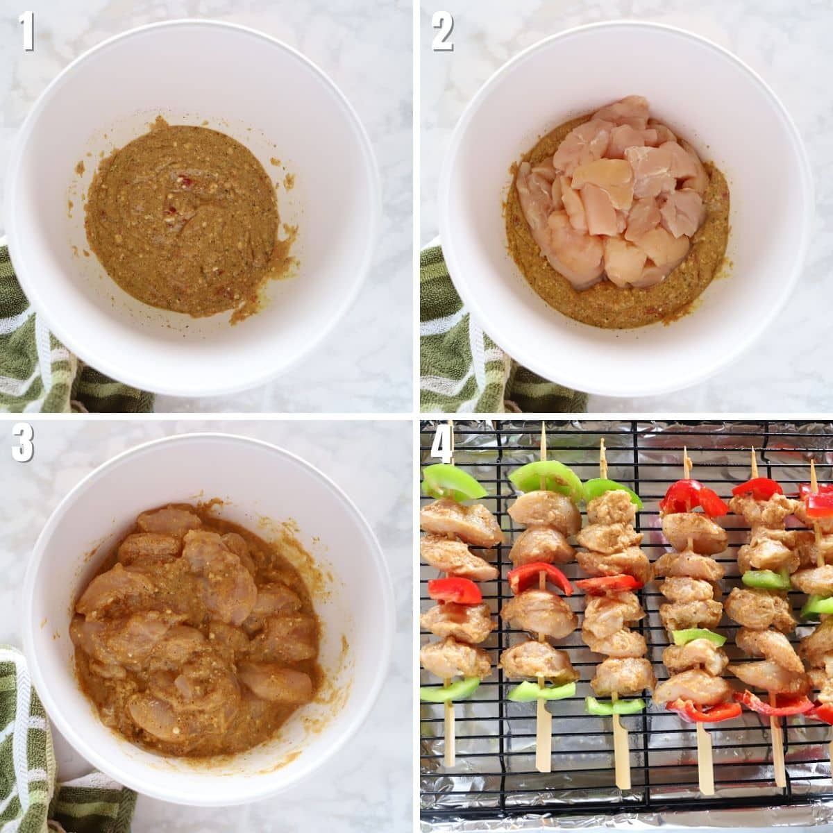 A collage of 4 images showing how to make chicken shish tawook.